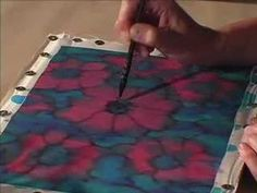Alcohol Technique: Silk Painting with Jill Kennedy. Alcohol ink pen = Sharpie.  myb