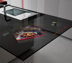 hi tech kitchen with video in worksurface