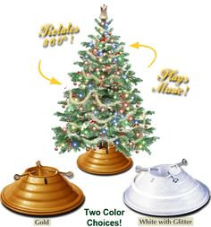 Heirloom Treestand   Vintage Rotating Christmas Tree Stand And Plays Music  For The Holiday! Made