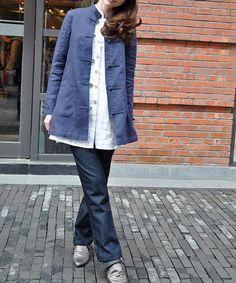Leinen Mantel Jacke in blau-Custom Made