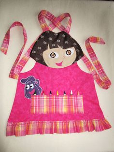 Kids Apron - DORA Craft Apron, Cooking Apron, Garden Apron - Fully Lined - Made to Order - Sizes from 2/3,3/4 and 5/6