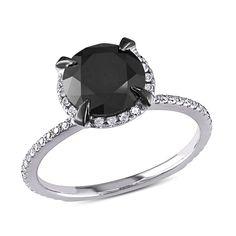 10k White Gold & Black Rhodium Plated Round I2-I3 Black & White Diamond Ring, 2 3/4 ctw