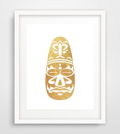 Gold African mask African mask wall print Afrocentric by Ikonolexi