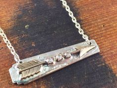Silver Arrow Necklace with Rhinestones, Soldered Jewelry, Bar Style Necklace, Follow Your Arrow, Silverware Jewelry, Wanderlust