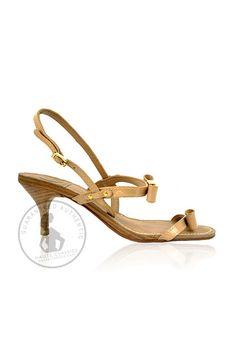 TORY BURCH Nude Patent Leather Kitten Heel Sandals (Size 6.5) - Haute Classics - Authentic Luxury Designer Consignment