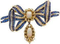 Opal, Diamond, Plique-à-Jour Enamel Brooch