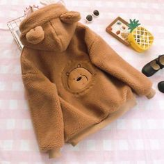 Lamb Velvet Bear Hoodie Coat Fabric Material:Cotton Blend Size Chat:One Size Size Shoulder Bust Length Sleeve One Size Cute Casual Outfits, Girl Outfits, Fashion Outfits, Kawaii Fashion, Cute Fashion, Japanese Hoodie, Bear Hoodie, We Bare Bears, Kawaii Clothes