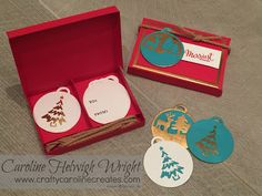 CraftyCarolineCreates: Merriest Wishes Gift Tag Gift Set - Video Tutorial using Stampin' Up Merry Tags Framelits