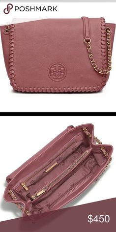 Tory Burch Maple Sugar Marion purse Beautiful mauve bag can be worn as a cross body or shoulder style bag. It is the perfect size for everyday. New without tags attached. It has a flat pocket on the back and a pocket under the flap on the front. One centered zipper pocket and two flat pockets inside. Price is negotiable and offers are welcome! Let me know if have any questions looking to sell quickly! Tory Burch Bags Crossbody Bags