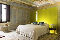 On the first floor of a meticulously renovated medieval palazzo, this residence with a pool, sleeping 8 + in Monteleone D'Orvieto is well placed for exploring nearby Umbrian and Tuscan towns Decor, Furniture, House, Interior, Home, Contemporary Bedroom Design, Indoor, Interior Design, Bedroom