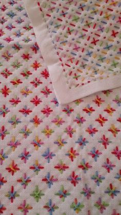 Sashiko, quilting - looks like this one used multicolour thread, e.g. Anchor Multi Coloured: http://www.hobbycraft.co.uk/anchor-multi-coloured-cotton-thread-colour-code-1375/560079-1104