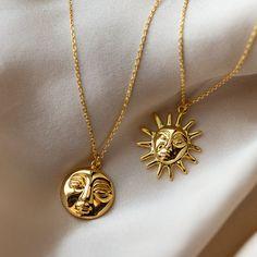 Moon Jewelry, Cute Jewelry, Jewelry Accessories, Sun Aesthetic, Spiritual Jewelry, Moon Necklace, Aesthetic Backgrounds, Sun Moon, Jewelery