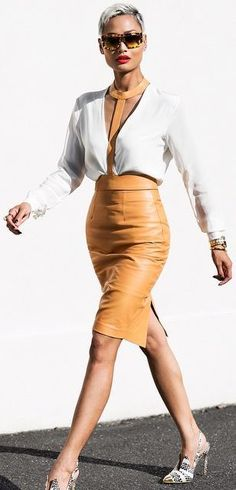 Camel Leather High Rise Pencil Midi Skirt