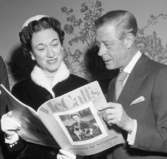 The Duke and Duchess of Windsor look over the issue of McCall's magazine out Feb. 21st and carrying the first installment of the Duchess autobiography. The Duke and Dutchess hold a dress conference at the Waldorf Astoria in connection with the publication of the autobiography.February 20, 1956