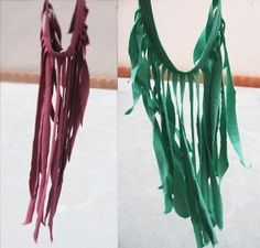 t-shirt + fringe = necklace