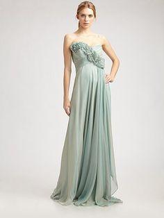 Teri Jon Strapless Silk Floral Garland Gown $760
