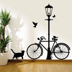Bicicleta e Candeeiro - Decoração em vinil Autocolante decorativo e Papel de parede - www.iconstore.pt