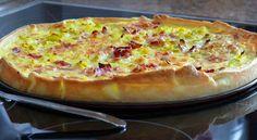 Esta receta de quiche es un clásico de puerros con bacon.  Se pueden sustituir los puerros por espinacas y añadir piñones también.