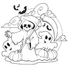 Halloween Coloring Page: Three Pumpkins | Halloween coloring, Free ...