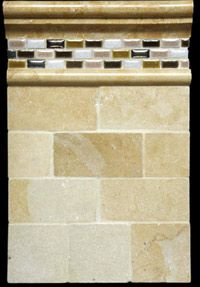 Railroad tile with liner, mosaic, and trims