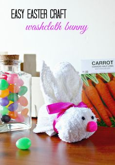 If you're looking for easy Easter crafts for yourself for for the kids, try making this simple Washcloth Bunny for Easter this year. I made one of these for an Easter very cute. Fun Crafts To Do, Easy Crafts, Easy Diy, Holiday Crafts, Holiday Fun, Holiday Decorations, Holiday Ideas, Easter Crafts For Kids, Easter Ideas