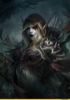 This is not a drow from D&D, it is a banshee elf named Sylvannas from World of Warcraft. World Of Warcraft 3, Warcraft Art, Fantasy Girl, Dark Fantasy, Banshee Queen, Sylvanas Windrunner, Flora Und Fauna, Night Elf, Heroes Of The Storm