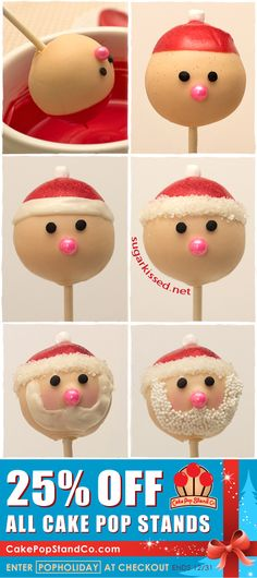 The most adorable Christmas cake pops EVER! How to Make Santa Cake Pops Step-By-Step tutorial. Using gluten free cake pops Christmas Cake Pops, Christmas Sweets, Santa Christmas, Christmas Goodies, Christmas Baking, Christmas Time, Xmas, Father Christmas, Halloween Christmas