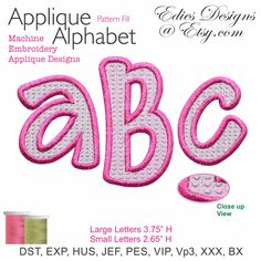 Applique Alphabet Machine Embroidery Designs BX Format Digital Download by EdiesDesigns on Etsy