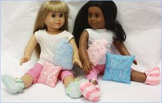 Bedtime Cozy - Cute set done in the hoop for Dolls... booties, pillow and water bottle! - Hatched in Africa