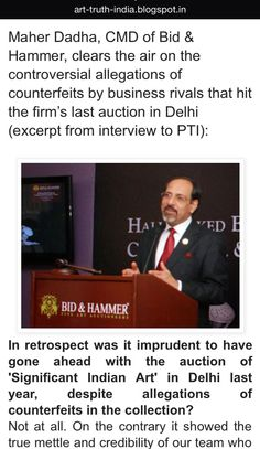 Maher Dadha clears the air on controversial allegations of #counterfeits by business rivals that hit #bidandhammer June 2014 Delhi #auction