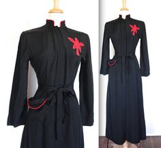 Vintage 1940's Dress // 40s Black Rayon Dressing Gown with Red Palm Tree and Rhinestones // Moon Over Miami // DIVINE