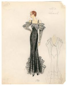 Bergdorf Goodman sketches: Chanel 1930-1939. Bergdorf Goodman sketches, 1929-1952. The Metropolitan Museum of Art, New York. Costume Institute (b17508952) | From our new collection of Bergdorf Goodman sketches. #fashion