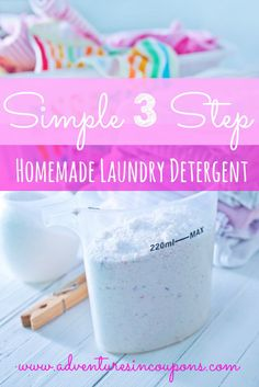 I love this laundry detergent recipe! Its simple and quick to make up! If you're looking to lower your laundry costs, this simple 3 step homemade laundry detergent DIY is perfect for you!
