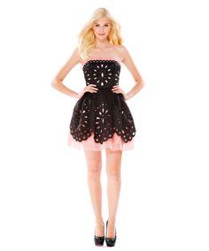 love the oversized eyelet cutout layered over a soft pink - duchess satin organza dress