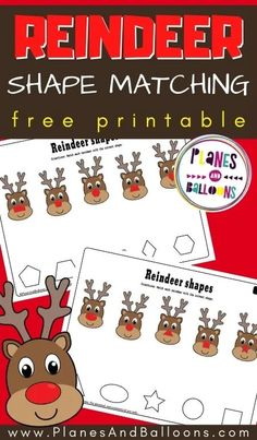 Reindeer worksheets for preschool FREE printable - Christmas shapes worksheets for preschoolers. #prek #christmas #planesandballoons