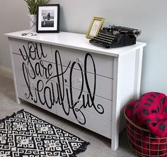 Create this project with Americana Decor® Satin Enamels™ — Use letters of Americana Decor® Satin Enamels™ on a plain dresser for a glamorous look.
