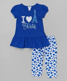 Another great find on #zulily! Royal 'Paris' Top & Heart Leggings - Toddler & Girls #zulilyfinds