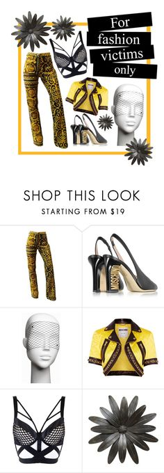 """""""fashion victims only"""" by unholyveins on Polyvore featuring Versace, Moschino, Bijoux Indiscrets, PopsOfYellow and NYFWYellow"""