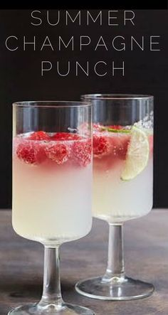 We've already shown you a few of our favorite ways to enjoy some bubbly, from boozy gummy bears to watermelon Champagne. Here, another sophisticated, summery way to serve sparkling wine to a crowd. #champagne #punch #summer