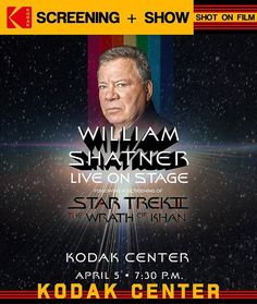 This.  Catch a screening of The Wrath of Khan (shot on @Kodak film) followed by @WilliamShatner LIVE @Kodak_Center #RochesterNY. April 5th @ 7:30pm (https://ift.tt/2JkRyrc). #thisisroc #roc