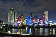 Large-scale projection for the MS Dockville Festival 2014 by lichtgestalten (www.lichtgestalten.li)