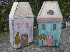 2 Holzhäuser - Holzhaus - Strandhaus von Ela s Kreativeckle  auf DaWanda.com Scrap Wood Crafts, Wood Block Crafts, Wooden Crafts, Wood Blocks, Little White House, Little Houses, Homemade Crafts, Diy And Crafts, Diy Projects To Try