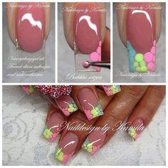 Tutorial with dotting tool. Creative Nail Designs, Gel Nail Designs, Beautiful Nail Designs, Diy Acrylic Nails, Shellac Nail Art, Funky Nail Art, Funky Nails, Sculpted Gel Nails, Nail Art Printer
