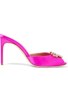 BRIAN ATWOOD Jodie Crystal-Embellished Satin Sandals. #brianatwood #shoes #sandals