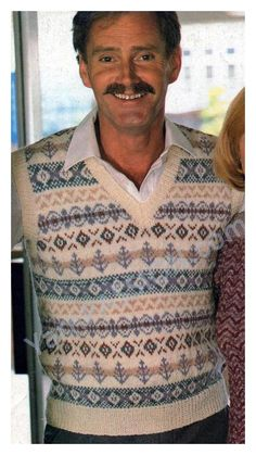 V-Neck Mans Fair Isle Pullover Size: 34 36 38 40 42 44 pattern available on ETSY in the shop called YarnPassionDesigns