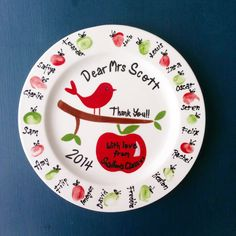 Personalised Ceramic Teacher Gift Plate. Hand painted and decorated with each child's thumbprint!!