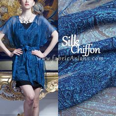 Royal Blue Paisley SILK Chiffon fabric. Sheer Fabric by fabricAsians Online Silk Store ♥ Visit us to get 10% OFF COUPON ♥ ♥ ♥