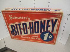 BIT-O-HONEY 1930s Schutter's candy store display counter box toasted almonds 1ct  | eBay