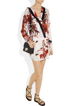 Just Cavalli|Printed satin-twill wrap dress|NET-A-PORTER.COM
