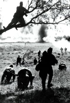 World War II. Soviet soldiers attacking, July – August 1943. The Battle of Kursk, Russia.